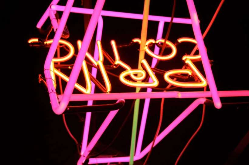 vintage neon assembled into interactive sculpture environment by Russ RuBert