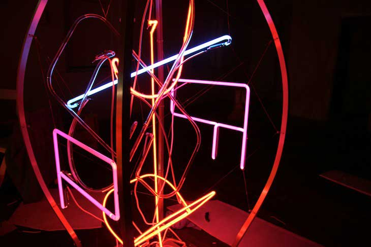 Neon sculpture installation detail from Studio B Invitational